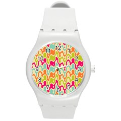 Abstract Pattern Colorful Wallpaper Round Plastic Sport Watch (m) by Simbadda