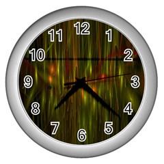 Fractal Rain Wall Clocks (silver)  by Simbadda