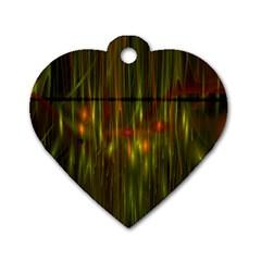 Fractal Rain Dog Tag Heart (two Sides) by Simbadda