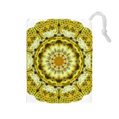 Fractal Flower Drawstring Pouches (large)  by Simbadda