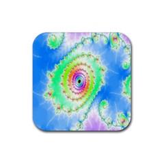 Decorative Fractal Spiral Rubber Coaster (square)  by Simbadda