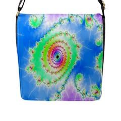 Decorative Fractal Spiral Flap Messenger Bag (l)  by Simbadda