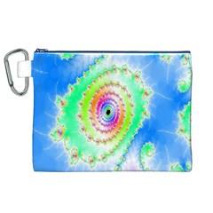 Decorative Fractal Spiral Canvas Cosmetic Bag (xl) by Simbadda