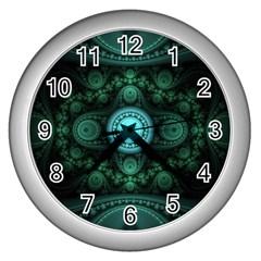 Grand Julian Fractal Wall Clocks (silver)  by Simbadda