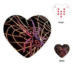 Black Widow Spider, Yellow Web Playing Cards (heart)  by Simbadda