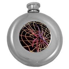 Black Widow Spider, Yellow Web Round Hip Flask (5 Oz) by Simbadda