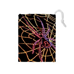 Black Widow Spider, Yellow Web Drawstring Pouches (medium)  by Simbadda