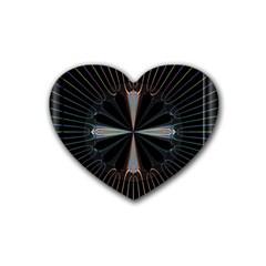 Fractal Rays Rubber Coaster (heart)  by Simbadda