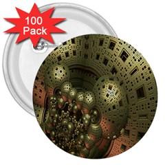Geometric Fractal Cuboid Menger Sponge Geometry 3  Buttons (100 Pack)  by Simbadda