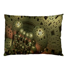 Geometric Fractal Cuboid Menger Sponge Geometry Pillow Case (two Sides) by Simbadda