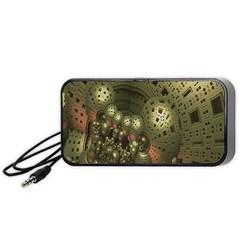 Geometric Fractal Cuboid Menger Sponge Geometry Portable Speaker (black) by Simbadda