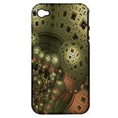 Geometric Fractal Cuboid Menger Sponge Geometry Apple Iphone 4/4s Hardshell Case (pc+silicone) by Simbadda