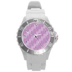 Purple Pattern Round Plastic Sport Watch (l) by Valentinaart