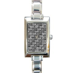 Gray Pattern Rectangle Italian Charm Watch by Valentinaart