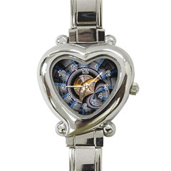 Fractal Tech Disc Background Heart Italian Charm Watch by Simbadda
