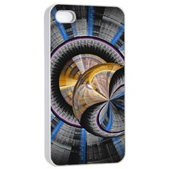 Fractal Tech Disc Background Apple Iphone 4/4s Seamless Case (white) by Simbadda