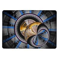 Fractal Tech Disc Background Samsung Galaxy Tab 10 1  P7500 Flip Case by Simbadda