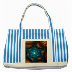 Fractal Star Striped Blue Tote Bag by Simbadda