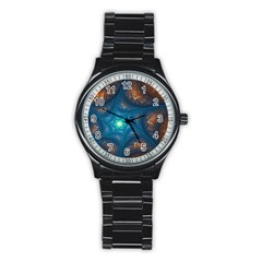 Fractal Star Stainless Steel Round Watch by Simbadda