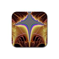 Symmetric Fractal Rubber Square Coaster (4 Pack)  by Simbadda