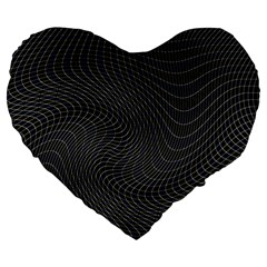 Distorted Net Pattern Large 19  Premium Flano Heart Shape Cushions by Simbadda