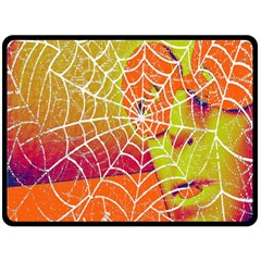 Orange Guy Spider Web Double Sided Fleece Blanket (large)  by Simbadda