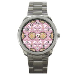Floral Pattern Seamless Wallpaper Sport Metal Watch by Simbadda
