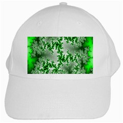 Green Fractal Background White Cap by Simbadda
