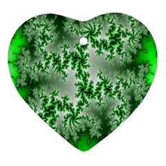 Green Fractal Background Ornament (heart) by Simbadda
