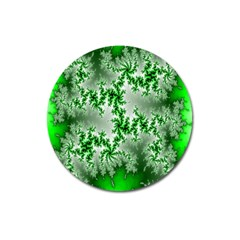 Green Fractal Background Magnet 3  (round) by Simbadda