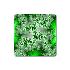 Green Fractal Background Square Magnet by Simbadda