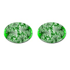 Green Fractal Background Cufflinks (oval) by Simbadda