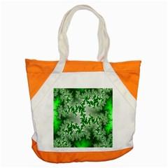 Green Fractal Background Accent Tote Bag by Simbadda