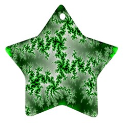 Green Fractal Background Star Ornament (two Sides) by Simbadda