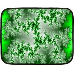 Green Fractal Background Double Sided Fleece Blanket (mini)  by Simbadda