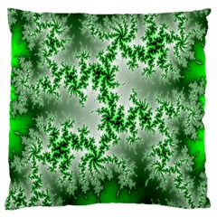 Green Fractal Background Large Cushion Case (two Sides) by Simbadda