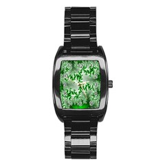 Green Fractal Background Stainless Steel Barrel Watch by Simbadda