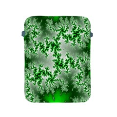Green Fractal Background Apple Ipad 2/3/4 Protective Soft Cases by Simbadda