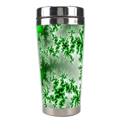 Green Fractal Background Stainless Steel Travel Tumblers by Simbadda