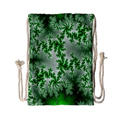 Green Fractal Background Drawstring Bag (small) by Simbadda