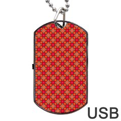 Abstract Seamless Floral Pattern Dog Tag Usb Flash (one Side) by Simbadda