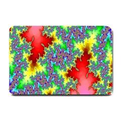 Colored Fractal Background Small Doormat  by Simbadda