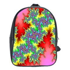 Colored Fractal Background School Bags(large)  by Simbadda