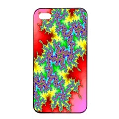 Colored Fractal Background Apple Iphone 4/4s Seamless Case (black) by Simbadda