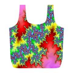 Colored Fractal Background Full Print Recycle Bags (l)  by Simbadda