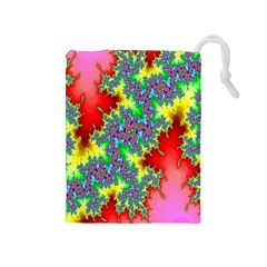 Colored Fractal Background Drawstring Pouches (medium)  by Simbadda