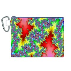 Colored Fractal Background Canvas Cosmetic Bag (xl) by Simbadda