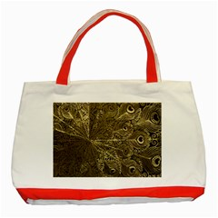 Peacock Metal Tray Classic Tote Bag (red) by Simbadda