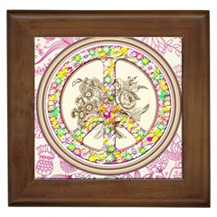 Peace Logo Floral Pattern Framed Tiles by Simbadda