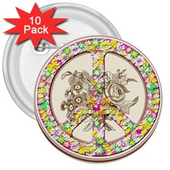 Peace Logo Floral Pattern 3  Buttons (10 Pack)  by Simbadda